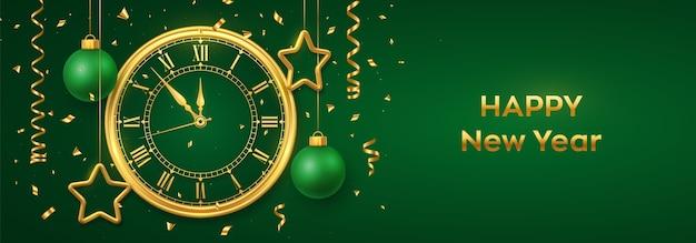 Feliz ano novo 2021. relógio dourado brilhante com algarismo romano e contagem regressiva à meia-noite. fundo com bolas e estrelas douradas brilhantes.
