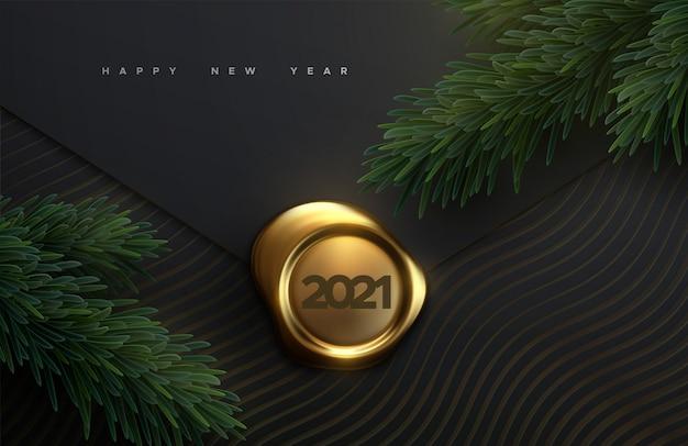 Feliz ano novo 2021. sinal 3d realista sobre fundo preto de papel com galhos de árvore do abeto. ilustração de férias do selo de cera dourada com números 2021
