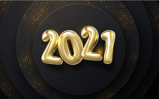 Feliz ano novo 2021. sinal de evento de férias nye. ilustração 3d caracteres dourados 2021 com padrão esculpido ondulado. fundo preto papercut. pano de fundo brilhante.