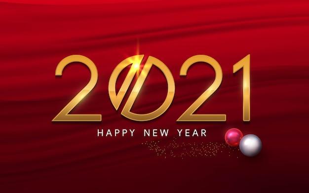 Feliz ano novo 2021 texto de luxo vermelho