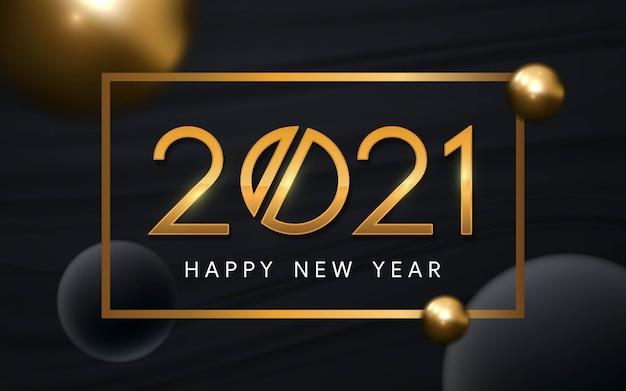 Feliz ano novo 2021 texto de luxo