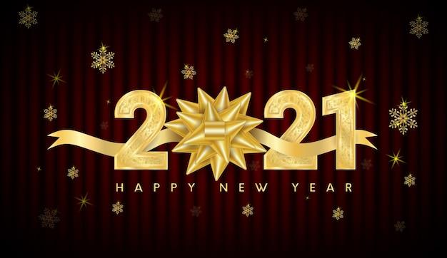 Feliz ano novo 2021 texto design. com números dourados e floco de neve.