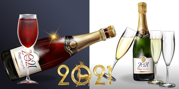 Feliz ano novo 2021 uma garrafa de champanhe em um fundo branco.