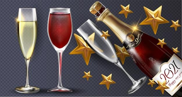 Feliz ano novo 2021, uma garrafa de champanhe em um fundo transparente com algumas taças. ilustração do modelo de design da festa de ano novo com elementos: 2021 estrelas douradas