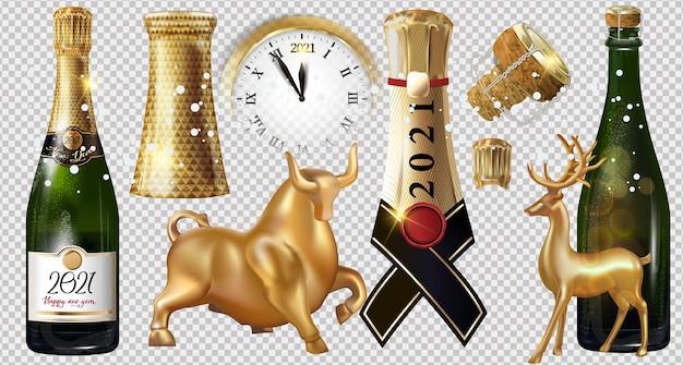 Feliz ano novo 2021, uma garrafa de champanhe em um fundo transparente. ilustração do modelo de design de festa de ano novo com elementos: golden bull, deer, clock