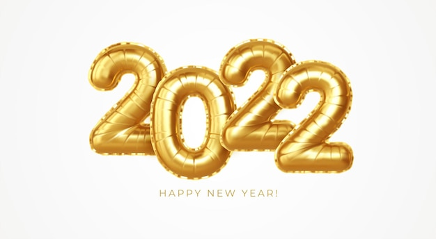 Feliz ano novo 2022 balões de folha de ouro metálico em um fundo branco. os balões de hélio dourado chegam a 2.022 no ano novo. ilustração eps10 do ve3ctor