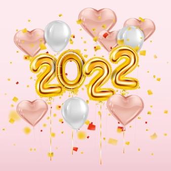 Feliz ano novo 2022 balões dourados folha dourada algarismos corações rosa balões com confete