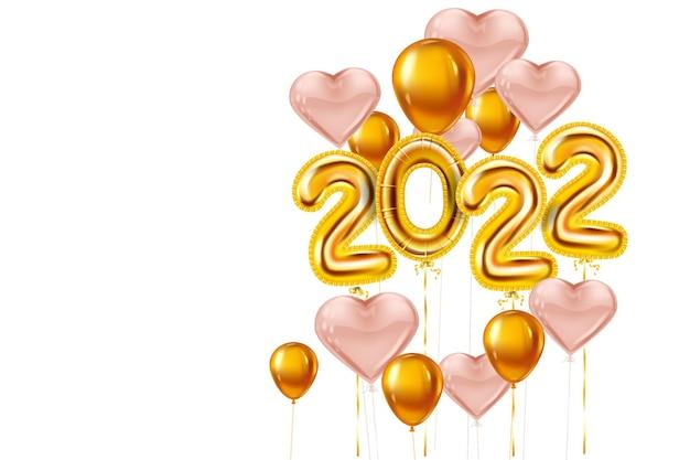 Feliz ano novo 2022 balões dourados palco pódio folha dourada numerais corações rosa balões