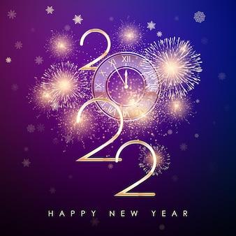 Feliz ano novo 2022 banner de ano novo com números dourados e design de texto de cartão de fogos de artifício