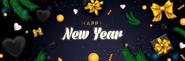 Feliz ano novo 2022 banner feriado natal fundo escuro com bolas de corações de presentes de pinho