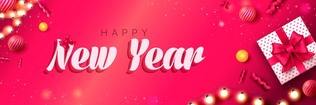 Feliz ano novo 2022 banner natal fundo rosa com caixa de presente guirlanda bolas festivas