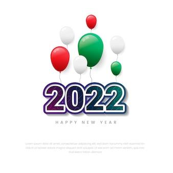 Feliz ano novo 2022 com balões premium vector