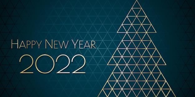 Feliz ano novo 2022 desenho geométrico árvore de natal