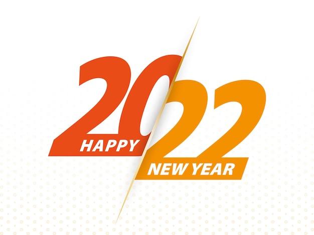 Feliz ano novo 2022, design de texto laranja do vetor saudação ilustração 2022.