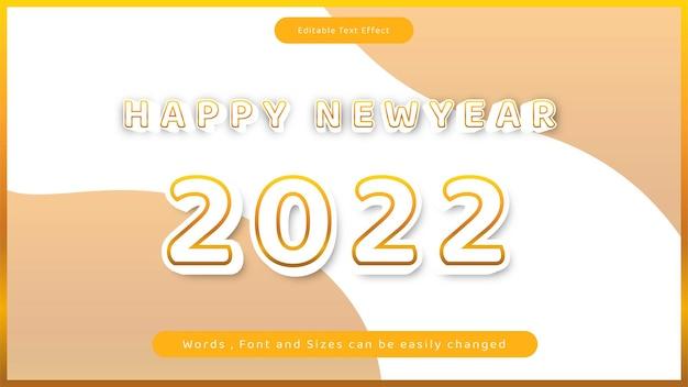Feliz ano novo 2022 editável com efeito de texto em negrito estilo de vetor laranja