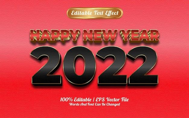 Feliz ano novo 2022 efeito de texto de textura goldden vermelho e preto de luxo