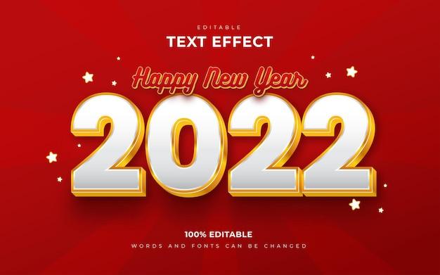 Feliz ano novo 2022 efeitos de texto editáveis em 3d