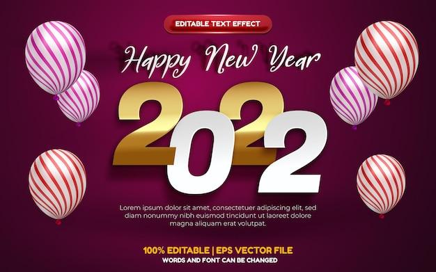 Feliz ano novo 2022 em ouro branco com efeito de texto editável cortado