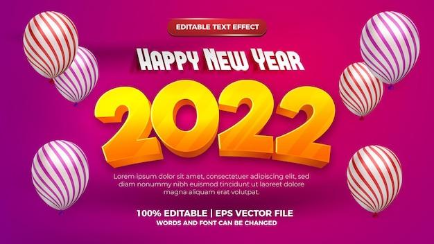 Feliz ano novo 2022 estilo cartoon moderno efeito de texto editável em 3d