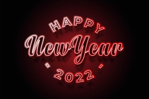 Feliz ano novo 2022 estilo neon
