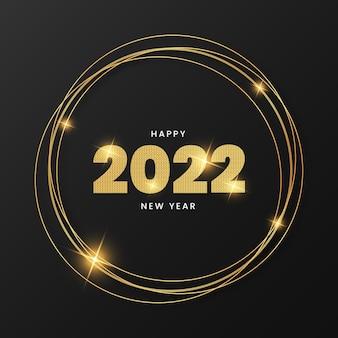 Feliz ano novo 2022 fundo com moldura dourada