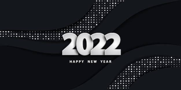 Feliz ano novo 2022 fundo preto com números prateados e padrão de pontos