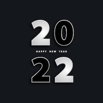 Feliz ano novo 2022 fundo preto festivo com números 3d