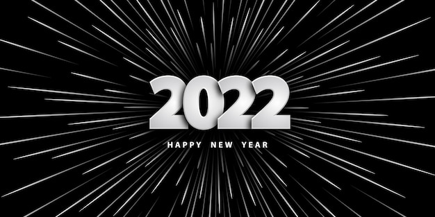 Feliz ano novo 2022 fundo preto festivo com números prateados