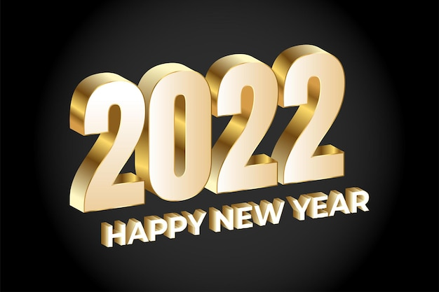 Feliz ano novo 2022 letras douradas
