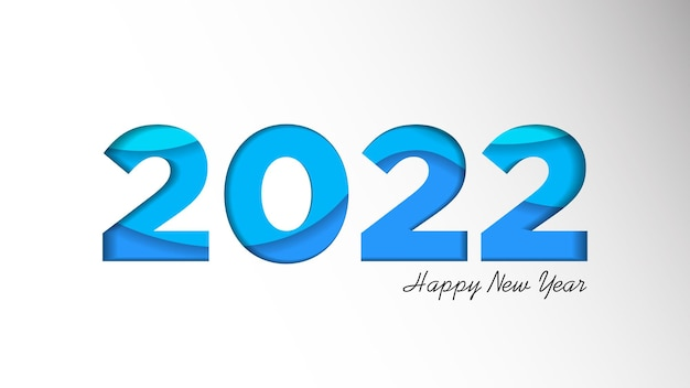 Feliz ano novo 2022 modelo de plano de fundo ilustração em vetor de férias de números de corte de papel 2022