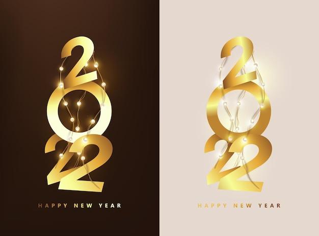 Feliz ano novo 2022 número dourado text design e luzes led string