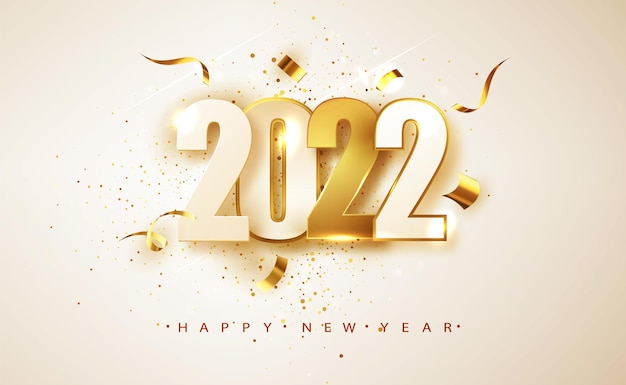 Feliz ano novo 2022. números brancos e dourados sobre fundo branco. design de cartão de férias.
