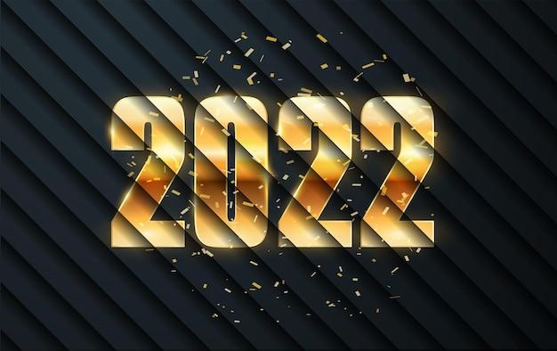 Feliz ano novo 2022 números dourados com decoração de natal texto dourado elegante com luz festiva