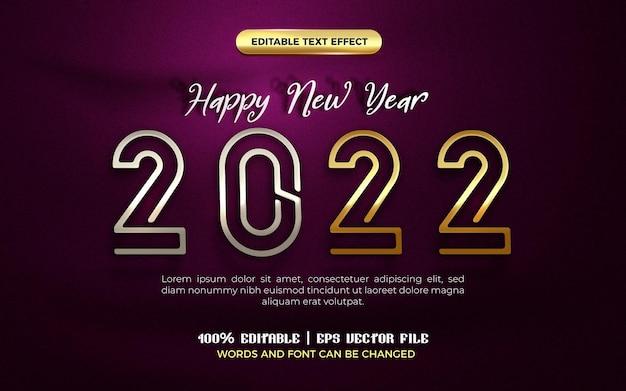 Feliz ano novo 2022 prata ouro placa moderna 3d efeito de texto editável