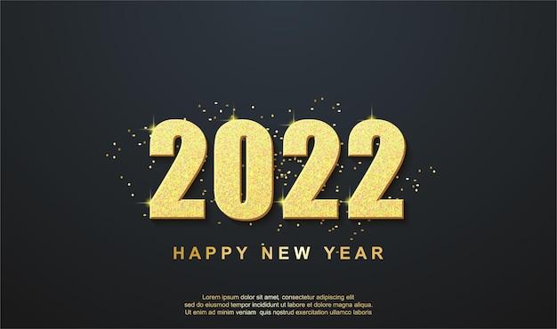 Feliz ano novo 2022, saudação de fundo com número dourado e fita dourada