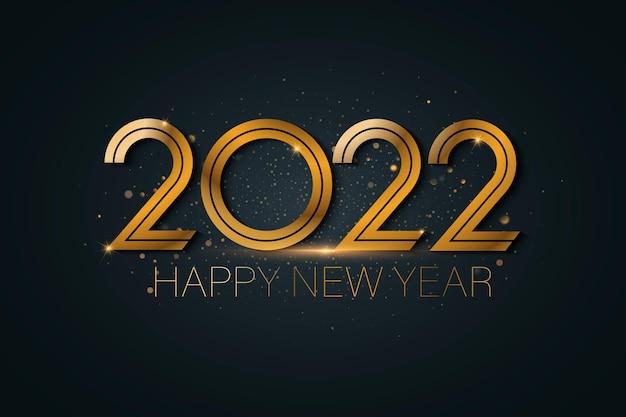 Feliz ano novo 2022 saudações com números metálicos dourados 2022 e brilhos cintilantes.