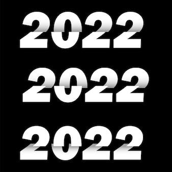 Feliz ano novo 2022 texto design. modelo de design de brochura, cartão postal, banner. vetor