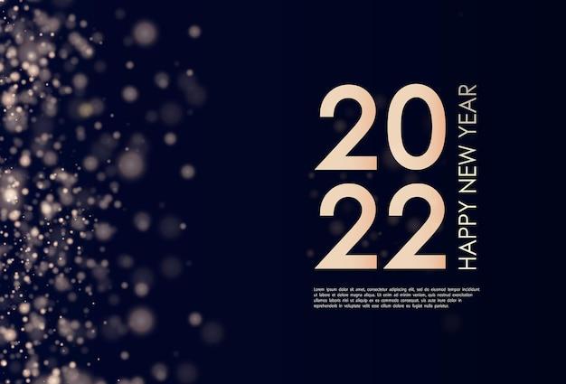 Feliz ano novo 2022 texto retroiluminado dourado elegante texto minimalista pó de ouro cartão de felicitações