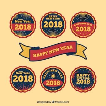 Feliz ano novo adesivo redondo