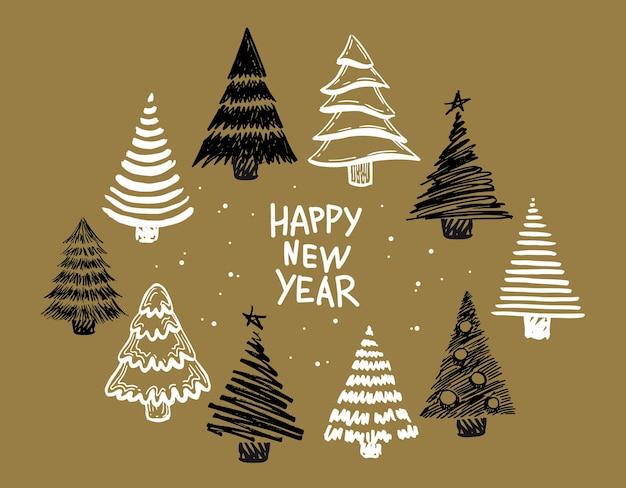 Feliz ano novo, árvores de natal desenhadas à mão