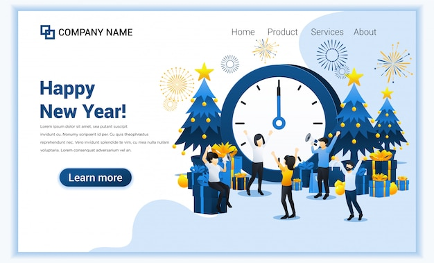 Feliz ano novo . as pessoas estão comemorando o ano novo perto de relógio gigante, árvore de natal e caixas de presente.