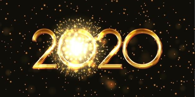 Feliz ano novo banner com fogo de artifício