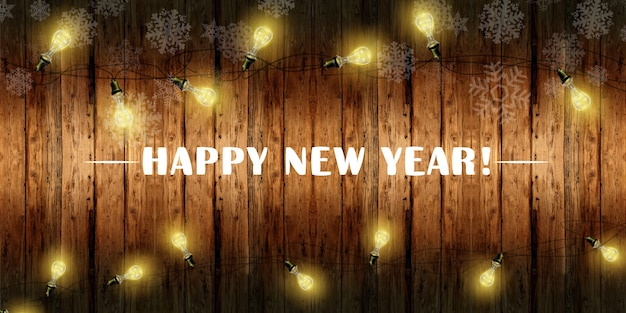 Feliz ano novo banner com guirlanda de luzes cintilantes