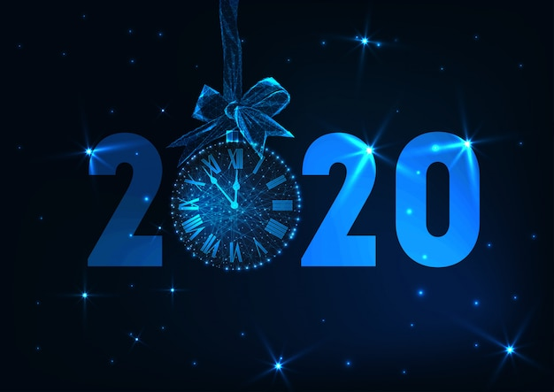 Feliz ano novo banner com texto futurista brilhante baixo poli 2020, relógio contagem regressiva, arco de presente, estrelas.