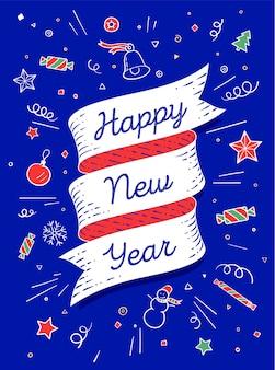 Feliz ano novo. banner de fita em estilo colorido brilhante com texto feliz ano novo e símbolos gráficos.