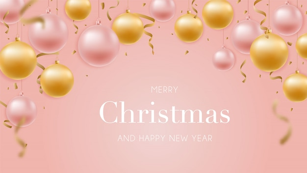 Feliz ano novo banner de saudação com ouro brilhante e bolas de ouro rosa.