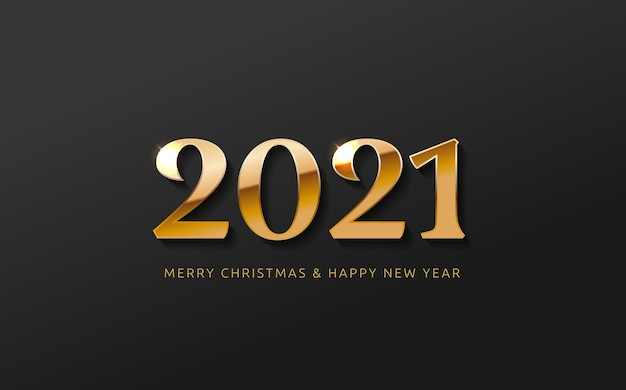 Feliz ano novo banner logotipo saudação design com número dourado do ano em um fundo preto abstrato design para cartão de convite calendário etc.