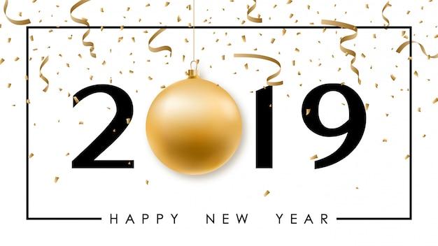 Feliz ano novo banner minimalista com bola de ouro.