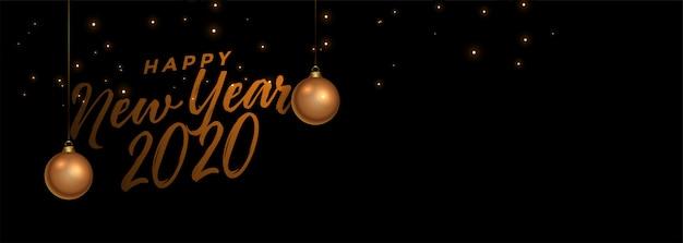 Feliz ano novo banner preto e dourado