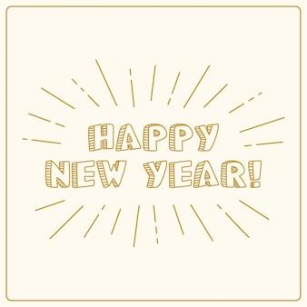Feliz ano novo, banner vintage dourado, mão de cartão de férias desenhada.